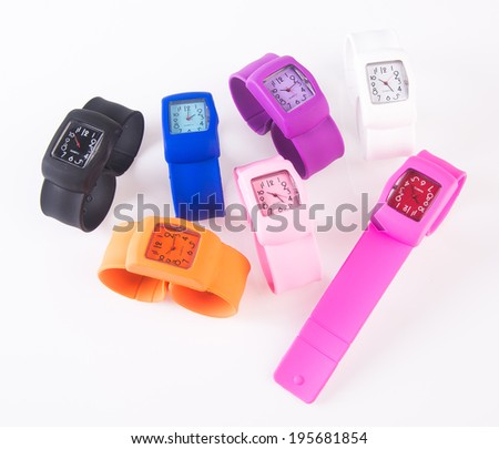 watches. colorful set of plastic watches isolated on white. - stock photo