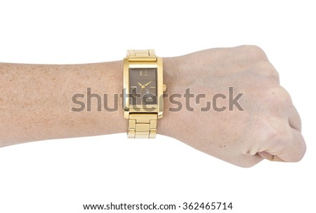 watches on woman arms - stock photo