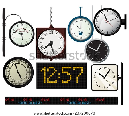 Watches set over white background - stock photo
