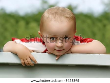 Watching boy - stock photo