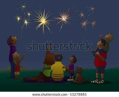 Watching Fireworks - RASTER version - stock photo