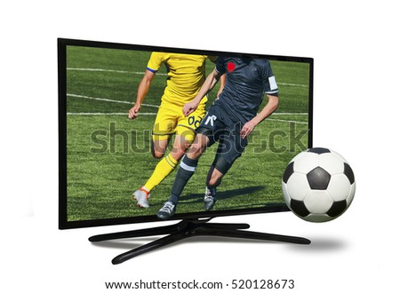 watching smart tv translation of football game.