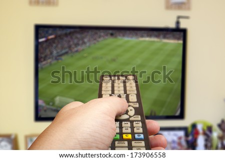 Watching soccer game on TV