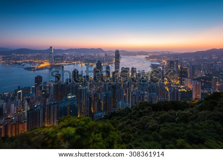 Watching sunrise on the mountain in Hong Kong Island. - stock photo