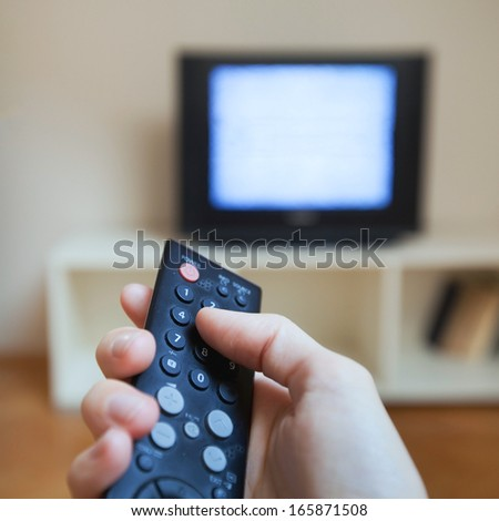 watching tv - stock photo