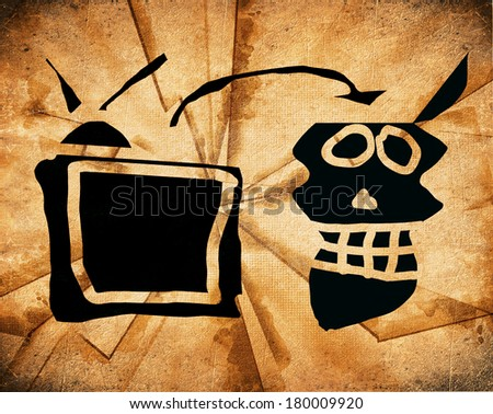 watching tv subliminal message concept - stock photo