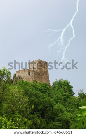 watchtower into the green forest - stock photo