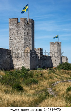Watchtowers and city wall surrounding Visby, the medieval city on the Gotland island, Sweden