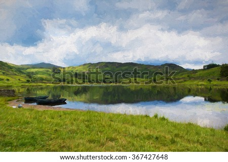 Watendlath Tarn Lake District Cumbria England between the Borrowdale and Thirlmere valleys close to Derwent Water illustration like oil painting