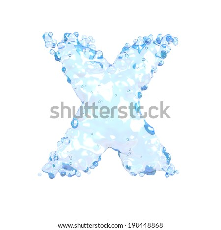 Water alphabet isolated on white (letter X)  - stock photo