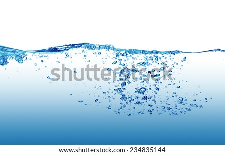 Water and air bubbles on white background