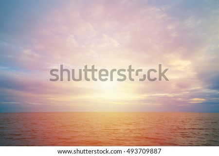 water and blue sky before sunset background