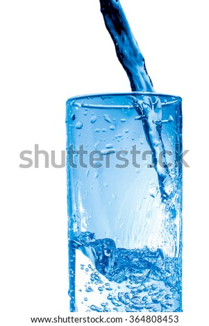 Water and splashes in glass