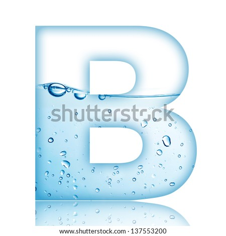 Water and water bubble alphabet letter. Letter B - stock photo