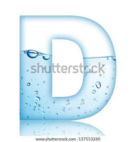 Water and water bubble alphabet letter. Letter D - stock photo