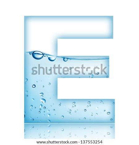 Water and water bubble alphabet letter. Letter E - stock photo