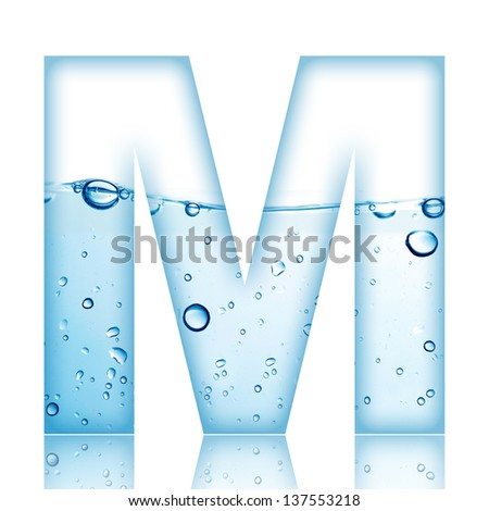 Water and water bubble alphabet letter. Letter M - stock photo