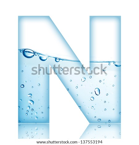 Water and water bubble alphabet letter. Letter N - stock photo