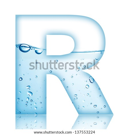 Water and water bubble alphabet letter. Letter R - stock photo