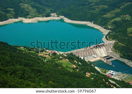 Water barrier dam, Perucac on river Drina, Serbia - stock photo