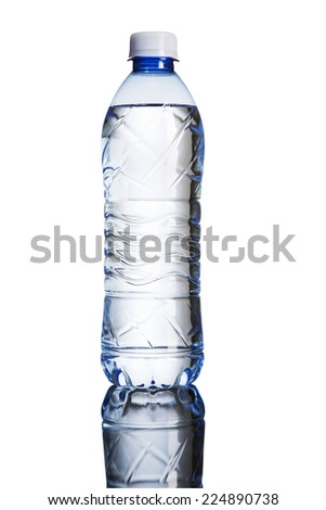 water bottle in a mirror with back light isolated on white background - stock photo