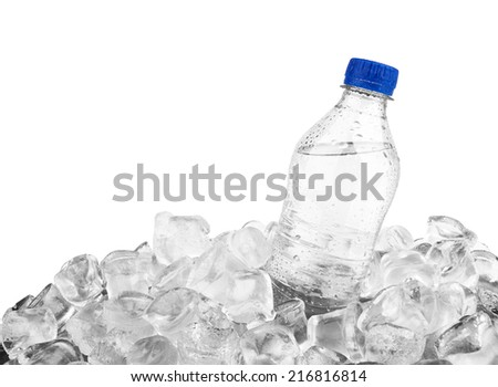 Water bottle in ice cube isolated on a white background  - stock photo