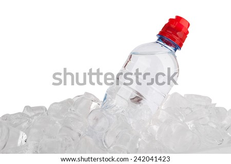 Water bottle in ice cube isolated on a white background