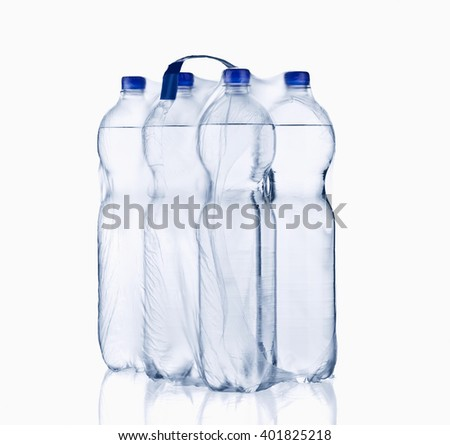 water bottle, isolated on white background, plastic, bottle with drinking water - stock photo