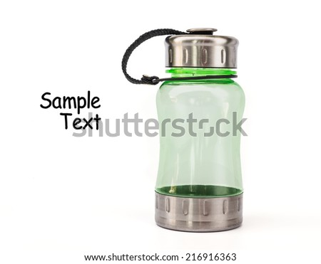 Water bottle isolated on white, To take with you to work or school.