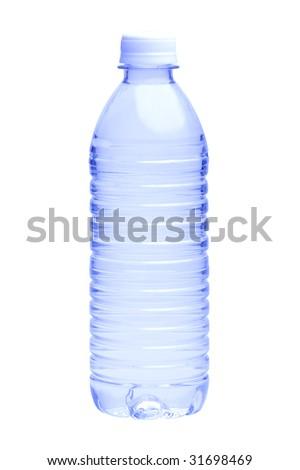 Water Bottle on White Background - stock photo