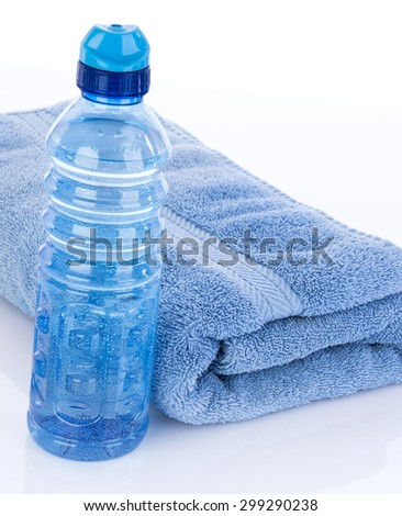 Water bottle to hydrate after workout sweat - stock photo
