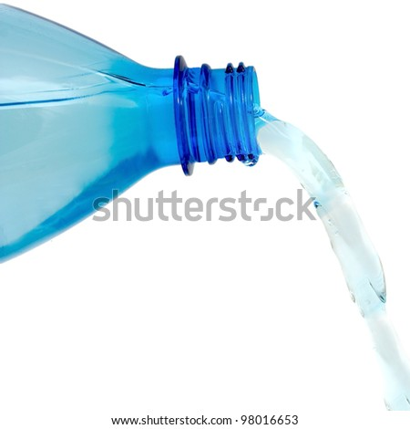 water bottle with a water stream.