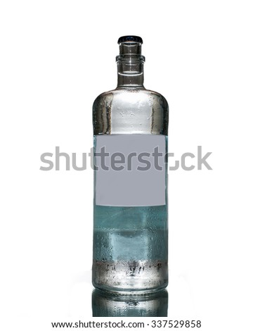 Water bottle with blank label on Isolated white background - stock photo