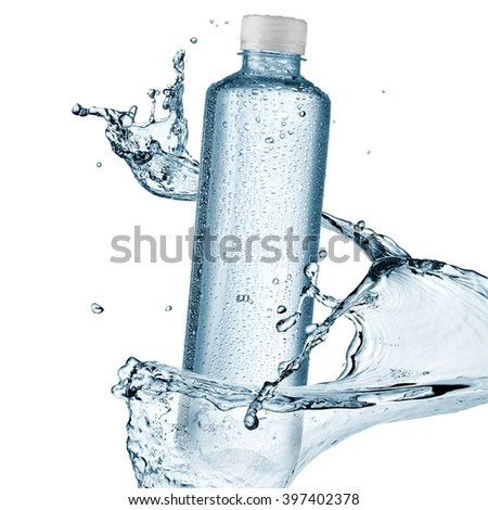 Water bottle with drops splash - stock photo