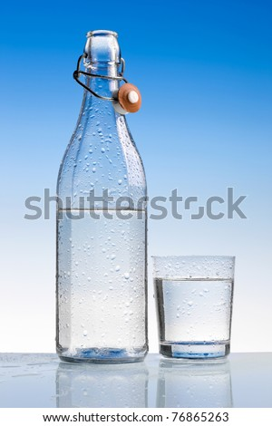water bottle with glass