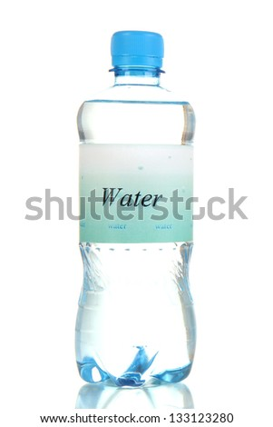 Water bottle with label isolated on white - stock photo