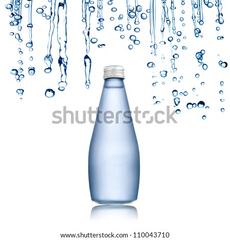 Water bottle with water drop on the background - stock photo