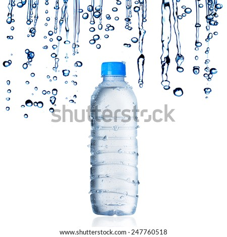 Water Bottle With Water Droplets - stock photo