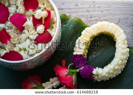 Water Bowl Decoration Prepossessing Water Bowl Decorating Rose Petals Jasmine Stock Photo 614688218 Design Ideas