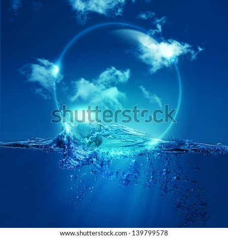Water bubble over ocean wave, environmental backgrounds - stock photo