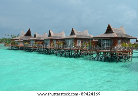 water bungalows at Mabul Island in Borneo, Malaysia
