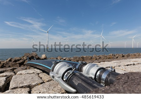 Water cables connected to the Windturbines in the IJsselmeer.