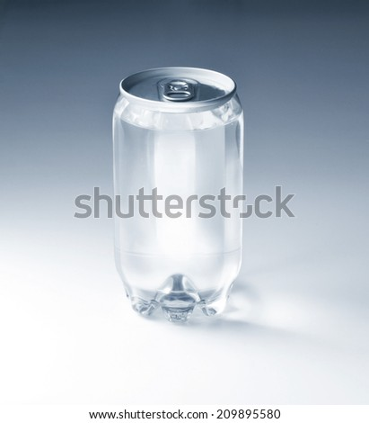 Water can on blue background  - stock photo