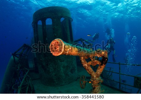 Water Cannon on the Wreck of the USS Kittiwake - stock photo