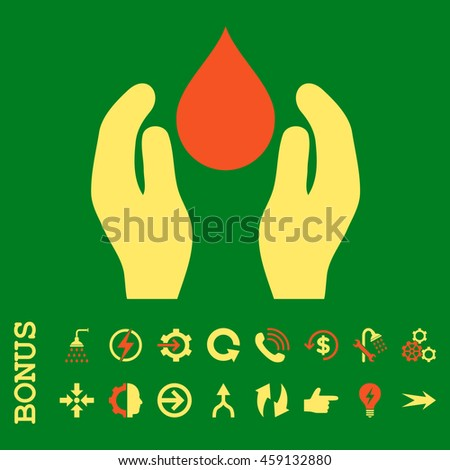 Water Care glyph bicolor icon. Image style is a flat iconic symbol, orange and yellow colors, green background. - stock photo