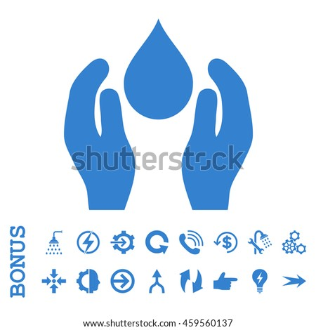 Water Care glyph icon. Image style is a flat iconic symbol, cobalt color, white background.