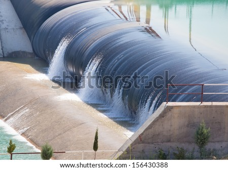 water cascade streaming down a lasher - stock photo