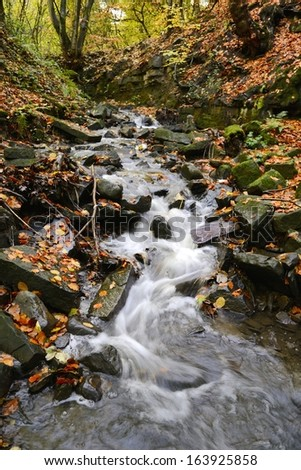 Water cascading down small stream in English woods near Wigan, England. - stock photo