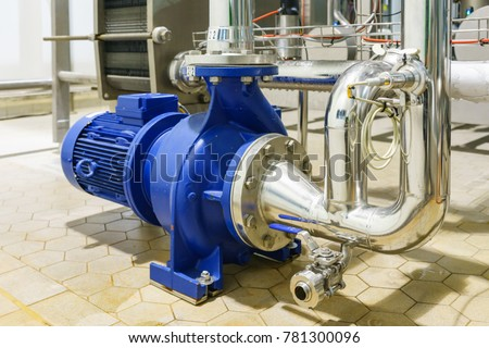 Water centrifugal pump motor line pipe stock photo 781300096 water centrifugal pump and motor line with pipe rack in power plant construction site industrial sciox Gallery