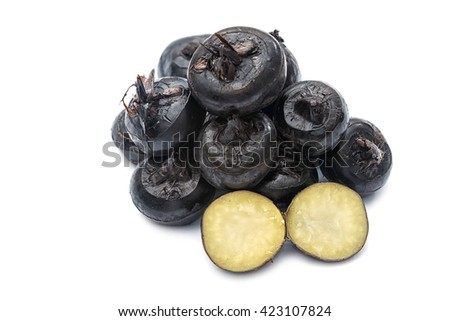 water chestnut or water-nut on white background - stock photo